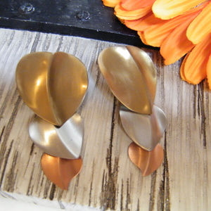 Fall Leaves Dangle Earrings Mixed Metals Silver +